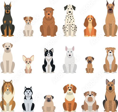 Fotografie, Obraz  Set vector dogs