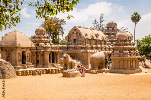 Fotografie, Tablou Ancient Hindu monolithic,  Pancha Rathas - Five Rathas, Mahabalipuram, Tamil Nad