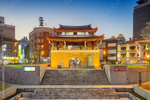 An ancient chinese castle in Hsinchu city at night