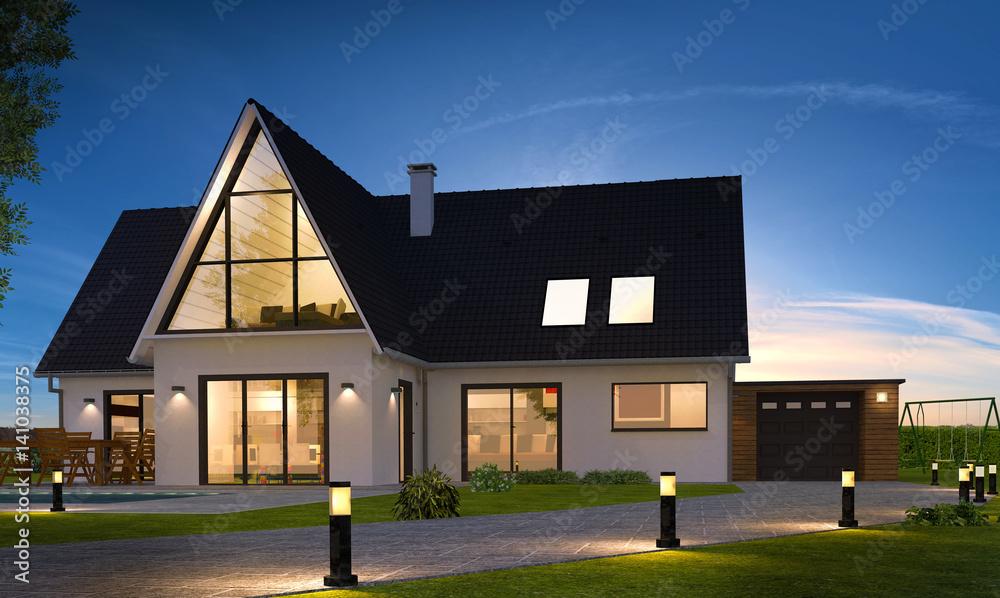 Fototapeta Belle maison de nuit contemporaine moderne avec piscine