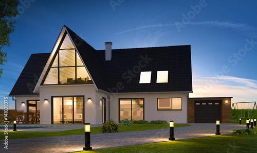 Belle maison de nuit contemporaine moderne avec piscine for Maison moderne 83