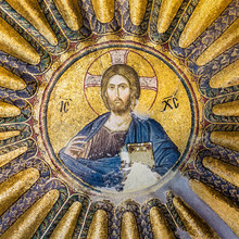 Mosaic Of Christ Pantocrator In A Medallion In The Chora Church Or Museum In Istanbul