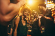 canvas print picture - Happy young people having fun a nightclub