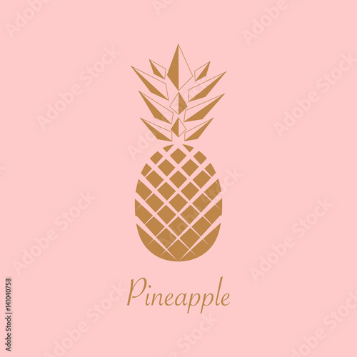 Gold Foil Pineapple Design Summer Fruit Trendy Illustration Isolated On Pink Background