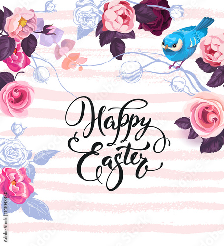 Happy Easter greeting card decorated by gorgeous bunches of semi-colored roses, colorful eggs and cute blue bird against paint traces on background.