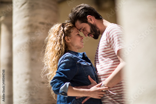 Young couple being romantic on vacation