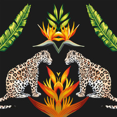 Obraz Mirror tigress tropical flowers and leaves black background