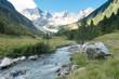 Gebirgsfluß in den Alpen mit Gletscher im Hintergrund