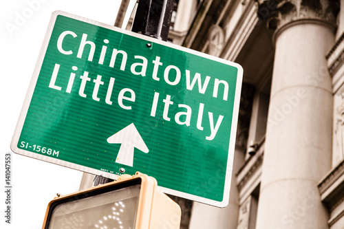 Chinatown & Little Italy Directional Sign