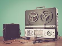 Bobbin Tape Recorder Retro Micrphone. HD Photo.