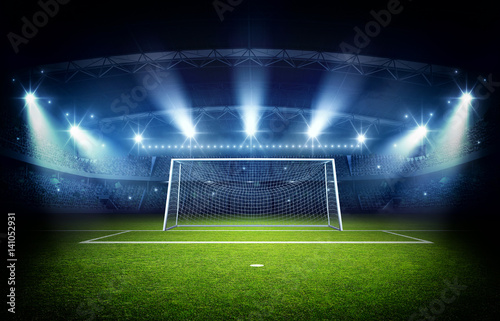 Photo  Stadium and goal post, 3d rendering