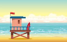 Lifeguard House, Beach, Sea, Sky.