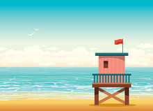 Lifeguard Tower On A Beach. Summer Illustration.