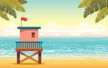 Lifeguard Station And Beach. Summer Landscape.