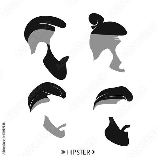 Fototapeta Zbiór fryzury człowieka hipster, brody, wąsy. Prosta konstrukcja logo, sylwetka. Ilustracji wektorowych.