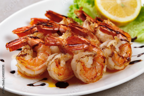 Grilled shrimps on a plate Canvas Print