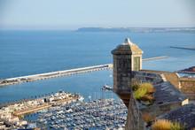 Watch Tower, Sentry Box In Santa Barbara Castle With The Sea. Alicante Spain.