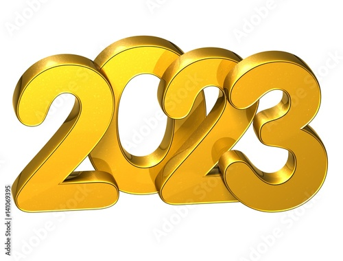 Fotografia  3D Gold Number New Year 2023 on white background