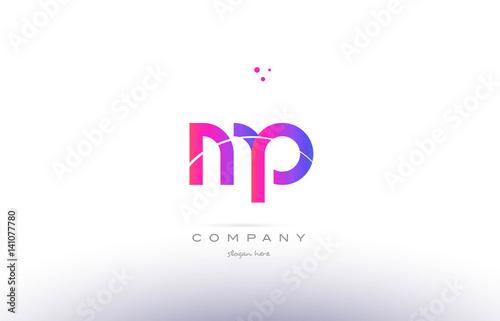 Mp M P Pink Modern Creative Alphabet Letter Logo Icon Template