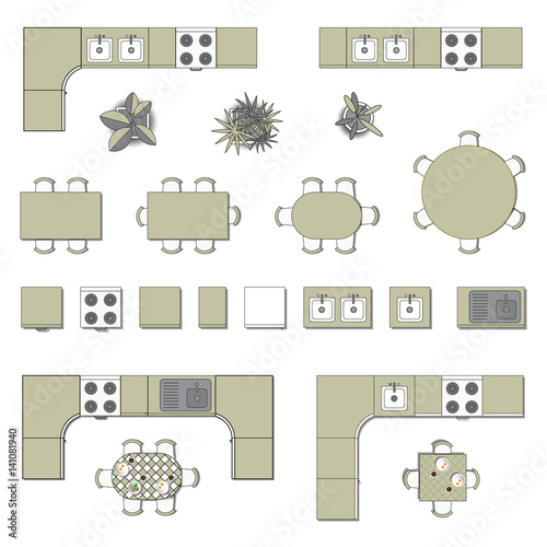 Set Top View For Interior Icon Design. Elements For
