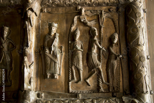 Decorated wooden door in the medieval church in Plock Canvas-taulu