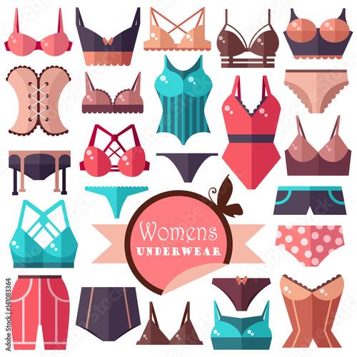 Collection of women's underwear. Flat vector illustration Wallpaper Mural