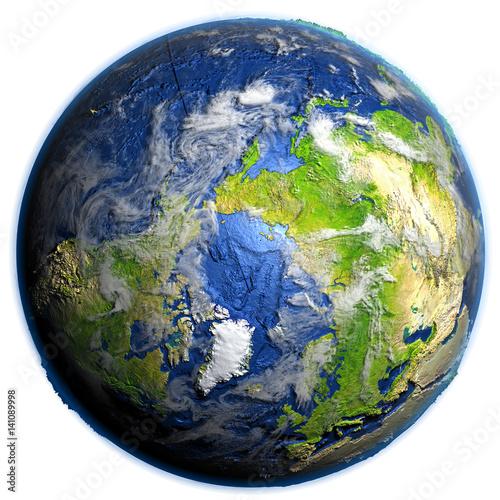 Valokuvatapetti Arctic Ocean on Earth - visible ocean floor