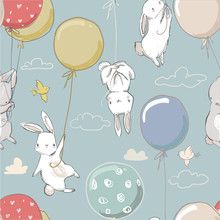 Seamless Pattern With Cute Little Hares