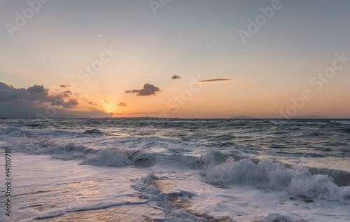Spoed Foto op Canvas Zee zonsondergang Dusk, Sicily