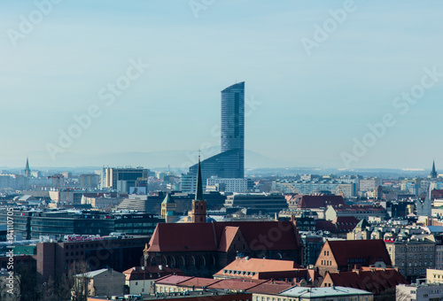 WROCLAW, POLAND - MARCH 04, 2017: photo of wonderful view of beautiful Wroclaw on the clear sky background