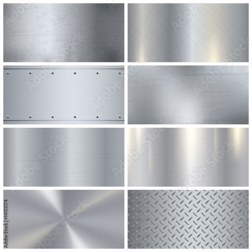Poster de jardin Metal Metal Texture Realistic 3D Samples Collection