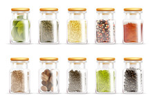 Herbs Spices Jars Icon Set