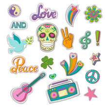 Set Of Patch Badges In Hippie Style