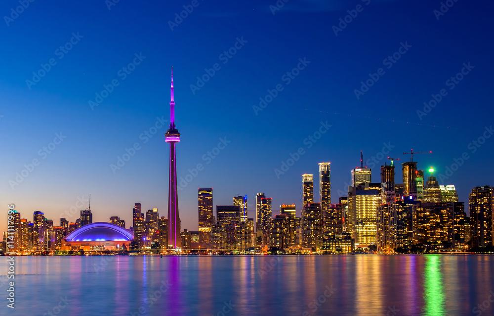 Stampa su Tela  Toronto city skyline at night, Ontario, Toronto