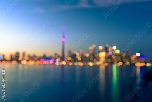 Fotografia  Toronto city skyline at night blur background, Ontario, Toronto