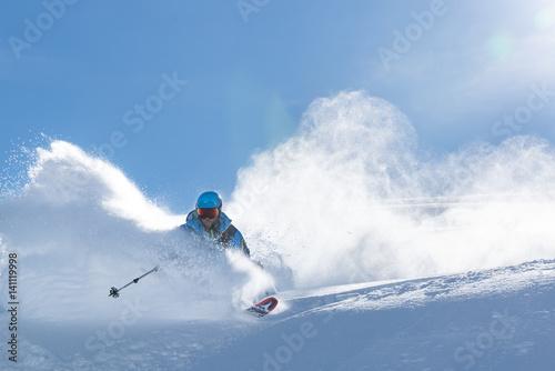 Fotografie, Obraz  Powder turn in the Swiss Alps