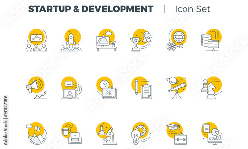 Fotografía Start up and Development Vector icon set