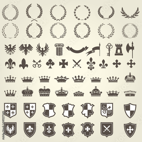 Fotografie, Obraz  Heraldry kit of knight blazons and coat of arms elements - medieval heraldic emb