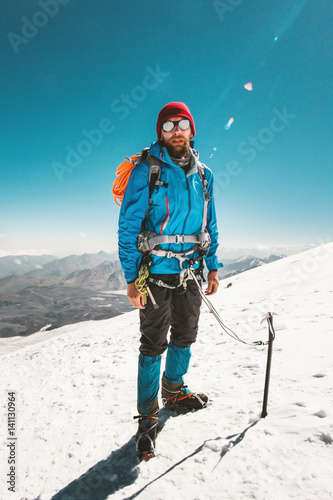 Man alpinist climbing in mountains glacier Travel Lifestyle endurance concept ad Canvas Print