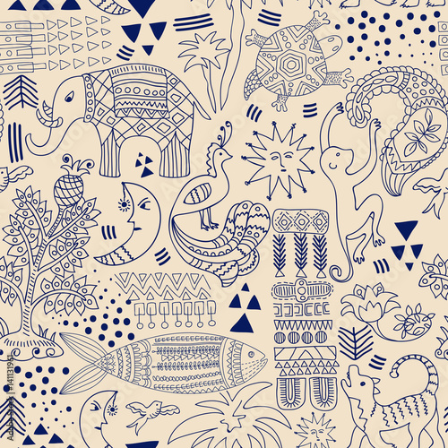 Cotton fabric Abstract seamless pattern. Monochrome tropic background. Hand drawn backdrop with decorative animals and geometric elements