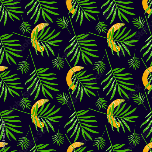 Tuinposter Vlinders Banana and leaves Seamless pattern. Vector illustration