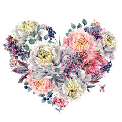 Obraz Watercolor Heart made of Peonies and Lilac