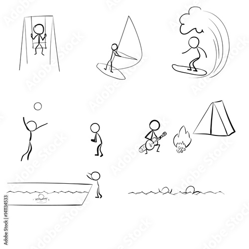 Fototapety, obrazy: Stick People on vacation