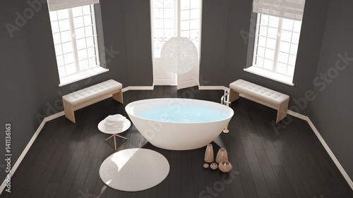 Zen Classic Spa Bathroom With Bathtub Minimalist Scandinavian Interior Design Top View