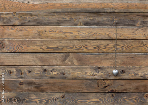 Tuinposter Hout Brown old wooden fence, wooden palisade background, texture of planks