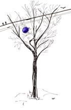 Bare Tree Trunk And Blue Ballo...