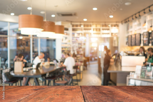 Foto op Canvas Restaurant Coffee shop blur background with bokeh image .
