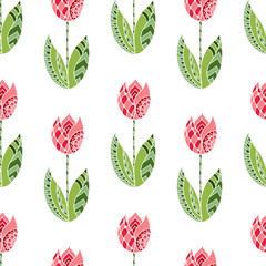FototapetaSeamless pattern with hand drawn ornamental tulip flowers on white background.