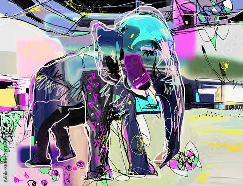 abstrakcyjny-wektorowa-geometryczna-grafika-przedstawiajaca-slonia-indyjskiego-w-fioletowych-i-rozowych-kolorach