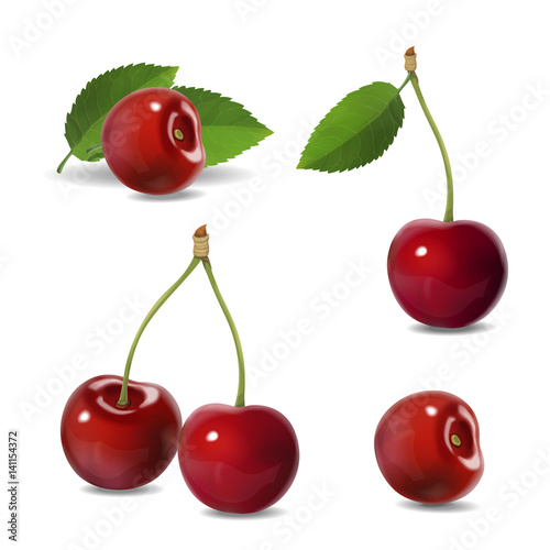 Cherry realistic fruit vector icons set. isolated illustration Wall mural
